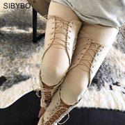 SIBYBO SUEDE BODYCON BANDAGE PANTS WOMEN 2018 AUTUMN WINTER LEGGING SE