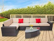 Set 6-Piece Wikcer Furniture Modular Sectional Sofa & Sophisticated Gl